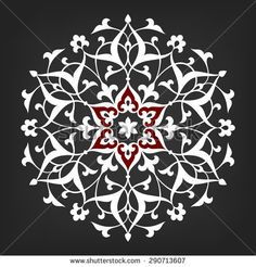 Eight pointed circular abstract floral pattern. Round vector ornament in Arabic style. Islamic Art Pattern, Pattern Art, Stencil Art, Stencil Designs, Mandala Drawing, Mandala Art, Motif Arabesque, Bohemian Pattern, Crafts