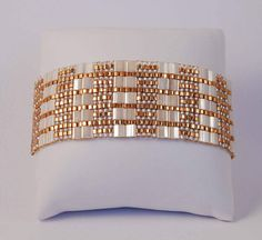 Tila bead cuff bracelet with Antique Ivory Pearl Ceylon Miyuki Tila beads and Japanese seed beads