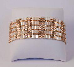 Tila bead cuff bracelet with Antique Ivory Pearl Ceylon Miyuki Tila beads and Japanese seed beads