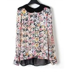 Floral Placket Long Sleeve Slit Back Chiffon Blouse - Sheinside.com