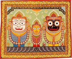 A modern Orissan pata-chitra painting of the three temple deities   Source: http://www.shalincraft-india.com/folkpata.html