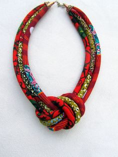 Fabric knot necklace/ red statement necklace/ African necklace