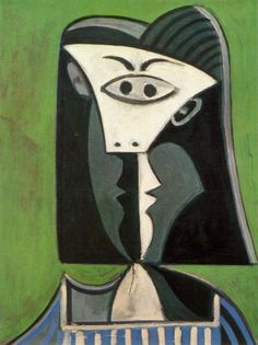 Tête de femme sur fond vert - Picasso - 1962
