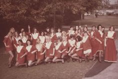 """San Fernando Valley State College (now CSUN) """"Granny Girls"""" in costume, circa 1969. In 1966, Dorthea """"Granny"""" Heitz organized a spirit squad that became known as the """"Granny Girls."""" They were unofficial ambassadors for the school as well as hostesses at sporting and homecoming events; their goal was to promote a spirit of friendship and camaraderie on campus. CSUN University Digital Archives."""