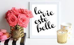 """""""La vie este belle"""" - Life is beautiful. Keep this parisian quote in your home to remind you that this life is a beautiful one. This quote is perfect for decorating your chic, sophisticated, and classy home. (Click here to purchase your own - $5)"""