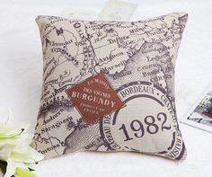 Pillow Cases Standard Size, CaseShell® Cotton Linen Decorative Square Throw Pillow Case Cushion Cover with Map Pattern 18x18 Inch *** Remarkable discounts available  : FREE Home Decor