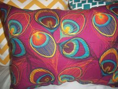 Modern small throw pillow in peacock print-pretty! Hand painted silk— housewares.