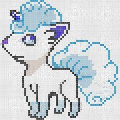 pixel art en perle hama: Goupix alola en perles à repasser Fuse Beads, Perler Beads, Seed Beads, Pixel Art, Pokemon Go, Chrochet, Pixie, Kids Rugs, Stitch