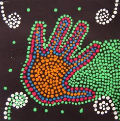 Pretty simple project, and students get really into it! First we talk a little about the history of Australian dreamtime painting and Abor. Aboriginal Dot Painting, Dot Art Painting, Hand Kunst, 3rd Grade Art, Ecole Art, Kindergarten Art, Preschool, Thinking Day, Australian Art