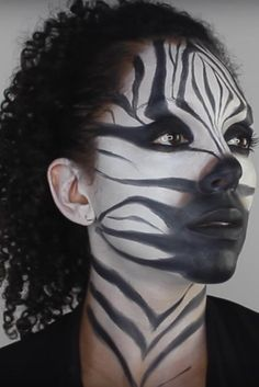 Zebra Halloween Makeup Tips And Tutorials Holidappy - You Can Go All Out For Halloween And Other Costume Events Or You Can Simply Spice Up Your Eye Make Up For Everyday Social Adventures Depending On Where Youre Going Out Zebra Makeup Is Zebra Makeup, Animal Makeup, Makeup Art, Makeup Tips, Animal Costumes Diy, Jungle Outfit, Jungle Costume, Fierce Animals, High Fashion Makeup