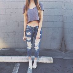 Ripped jeans.