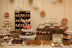 Dessert table, wedding desserts, rustic wedding with sweet details. DIY wedding dessert table backdrop.