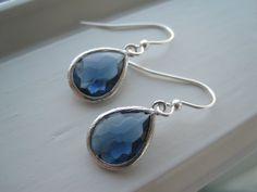 Dark Blue Earrings  Blue Glass Earrings  Glass by Sparkleandswirl, $20.00
