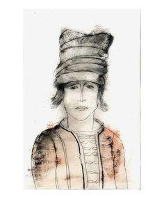 Man Hat portrait original engraving technique drawing figurative people