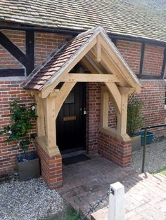 Take a look at our gallery of various styles of oak porches Cottage Front Doors, Front Door Porch, Cottage Porch, Porch Oak, House With Porch, House Front, Porches, Oak Framed Buildings, Porch Kits