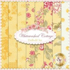 3 Sisters for Moda: Whitewashed Cottage in Daffodil | Shabby Chic quilting fabric