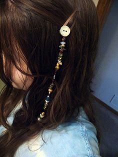 Beads and button pirate hair clip