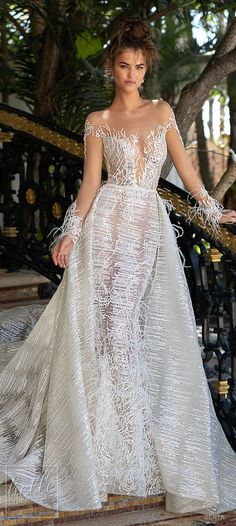 Berta Spring 2019 Wedding Dresses - World of Bridal Gorgeous Wedding Dress, Beautiful Gowns, Bridal Dresses, Wedding Gowns, Dresses Dresses, Wedding Reception, Illusion Dress, Gowns With Sleeves, Wedding Gallery