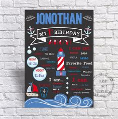 First Birthday Chalkboard Nautical Birthday Poster PRINTABLE DIGITAL Summer Birthday Sailboat Beach Ocean Pool Party 1st Birthday Boy Sign