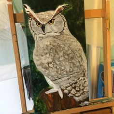 We've got to that #ugly phase. It's coming together slowly. #art #nature #painting #owl #birds #wildlife