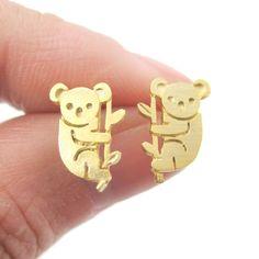 Super Cute Koala Bear Shaped Stud Earrings in Gold $11.50 #koala #animals #jewelry #earrings #cute