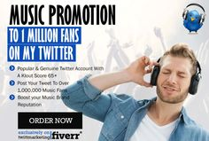 twittmarketing : I will do Music Promotion  to 1 Million Fans on my Twitter for $5 on www.fiverr.com https://www.fiverr.com/twittmarketing/promote-your-music-with-my-music-twitter-with-476-000-fans?utm_campaign=crowdfire&utm_content=crowdfire&utm_medium=social&utm_source=pinterest