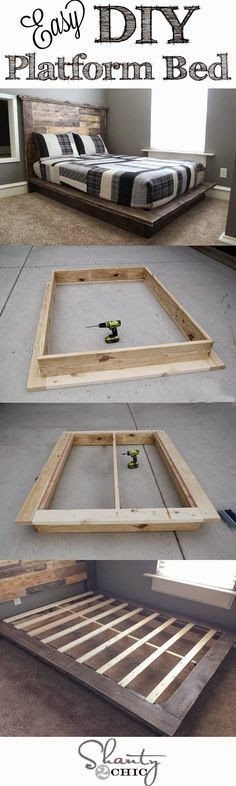 Easy DIY Platform Bed...could be a great fix for a guest room! | InteriorCrowd www.interiorcrowd.com #guestroom