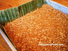 "Biko is a Filipino rice cake made from sticky rice (locally known as malagkit), coconut milk, and brown sugar. Like other rice cakes, this is referred to as kakanin (derived from the word ""kanin"" which means rice) and is often eaten as dessert or meryenda (mid-afternoon snack).Traditionally, this delicious rice cake is placed over banana leaves in"