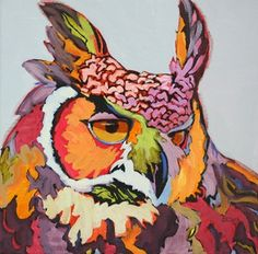 Contemporary animal painting of an owl Mouse Trap, painting by artist Carolee Clark