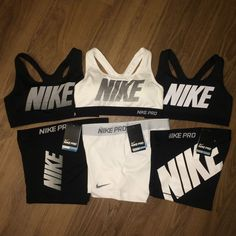 Nike Pro Shorts & Nike Sports Bra Exploded Nike Logo NWT - Each Sold Separately from Sports Trends. Saved to Holiday Wishlist . Nike Pro Outfit, Cute Nike Outfits, Sports Bra Outfit, Cute Workout Outfits, Cheer Outfits, Sport Outfits, Nike Spandex Shorts, Nike Pro Shorts, Nike Pros Sports Bras
