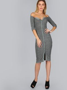 Grey Button Up Off The Shoulder Ribbed Dress -SheIn(Sheinside)