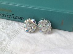 Vintage rhinestone earrings by PureJoyVintage on Etsy