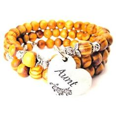 NATURAL WOOD WRAP BANGLE AUNT HEART WITH FLOWERS BRACELET - See more at: http://chubbychicocharms.com #Family #Gift #Niece
