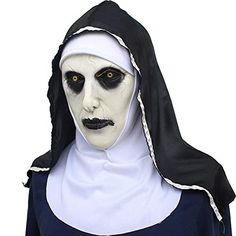 Halloween Ghost Festival Horror Nun Mask Surprise Female Ghost Face Mask Nun Cosplay Mask Latex Scary Full Head ** Look into this great product. (This is an affiliate link). Halloween Zombie Mask, Masquerade Halloween, Halloween Party Kostüm, Masque Halloween, Halloween Cosplay, Halloween Costumes, Scary Costumes, Mermaid Costumes, Halloween Items