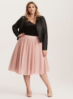 Plus Size Tulle Mesh Midi Skirt, DUSTY QUARTZ