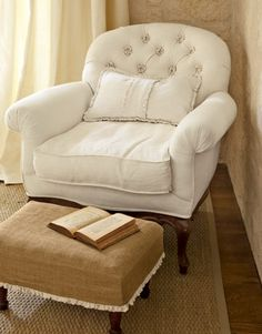 I love this burlap ottoman cover and the combo of the two Decor, Comfy Reading, Chair And Ottoman, Upholstery, Home, White Chair, Burlap Ottoman, Furniture, Comfy Chairs