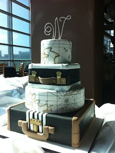 The vintage suitcase/antique maps cake was made for a couple who plan to travel the world together and was delivered to LP Field in Nashville, TN.
