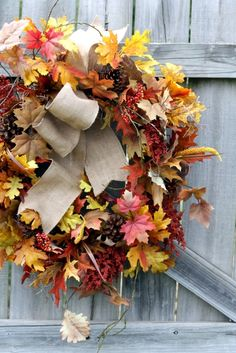 Fall Leaf Wreath #Fall #Leaves #Wreath