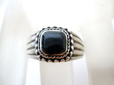 Sterling Silver Ring Black Onyx Gemstone by TheJewelryLadysStore