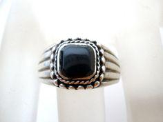 Sterling Silver Ring Black Onyx Gemstone by TheJewelryLadysStore