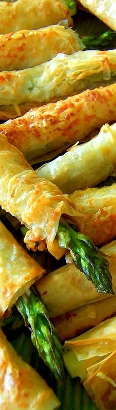 Asparagus Phyllo (Filo) Appetizers - delicious snack, side dish, small bites - great party food recipe.  Pastry-wrapped asparagus.