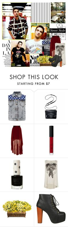 """""""Robert Pattison"""" by mars ❤ liked on Polyvore featuring Forum, Reed Krakoff, Crafted, American Apparel, Topshop, AllSaints, Jeffrey Campbell, street style, cross body bag and denim vest"""