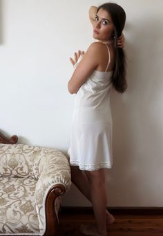 Items similar to Vintage Vanity Fair Nylon and Lace Sexy Ivory Cream Slip Nightie Lingerie Negligee Nightgown Sleepwear Underwear on Etsy Vanity Fair, Nylons, Lingerie Drawer, Satin Slip, Night Gown, White Dress, Vintage, Petticoats, Trending Outfits