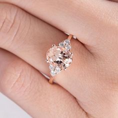 Morganite Ring Rose Gold Engagement Ring Oval Cut Wedding