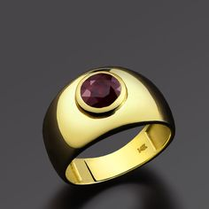 Men's Ring REAL 14k Solid Yellow Gold Certificated 2.70ct Red Natural Ruby #eJOYA #Statement