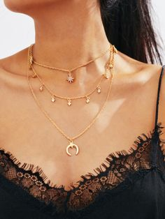 Horn Pendant Layered Chain Necklace -SheIn(Sheinside)