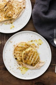 An easy grilled celeriac steak atop a creamy, roasted garlic white bean puree. Perfect for a vegetarian date night dinner in. Entree Recipes, Vegetarian Recipes, Dairy Recipes, Vegetarian Dinners, Vegetarian Cooking, Vegan Food, Yummy Recipes, Healthy Recipes, Celeriac Recipes