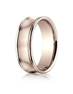 14k Rose Gold 7.5mm Comfort-Fit Satin-Finished Concave Round Edge Carved Design Band