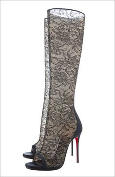 Christian Louboutin 'Alta Dentelle' peep-toe knee-high lace boots