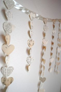 paper heart banner.  will make mine from old book pages